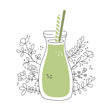 Detox smoothie with decorative flowers. Glass bottle with straws and healthy drink. Tall jar with green beverage and floral ornament. Vector illustration on food and drink in flat style. Illustration