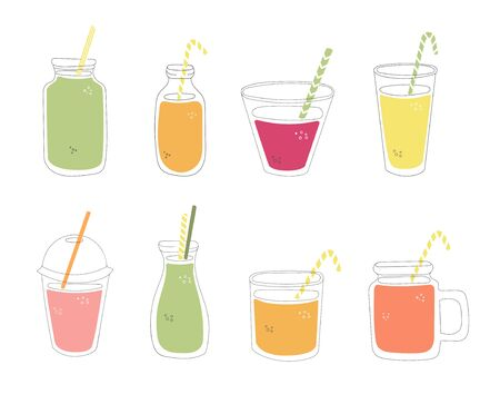 Set of glasses with juice. Hand drawn cups with fresh smoothie. Collection of summer drinks in doodle style. Colorful glasses, cups and bottles isolated on white. Illustration
