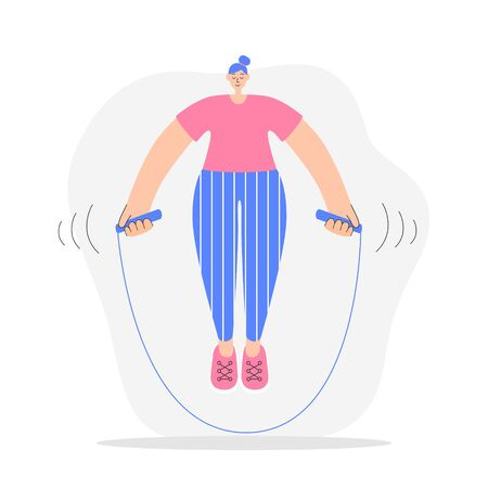 Woman exercising with a jumping rope. Modern flat illustration on fitness. Young woman doing cardio workout with a skipping rope. Girl doing interval training. Oversized character in trendy style.