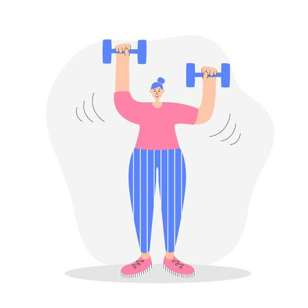 Woman exercising with dumbbells. Modern flat illustration on fitness. Young woman doing shoulder press with weights. Girl doing strength training. Oversized character in trendy style.