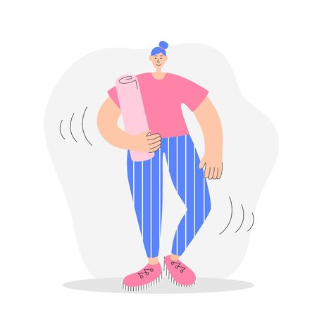 Woman holding a yoga mat. Modern flat illustration on fitness. Young woman preparing for a stretch or pilates workout. Girl with a fitness equipment. Oversized character in trendy style.