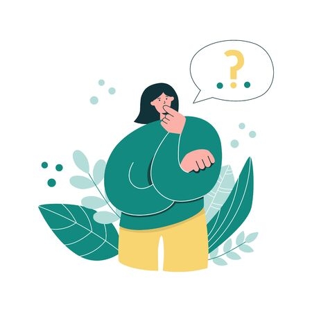 Woman thinks over a problem. Girl and a speech bubble with a question mark. Young woman questioning. Modern flat character design. Whimsical vector illustration of people having doubts. Illustration