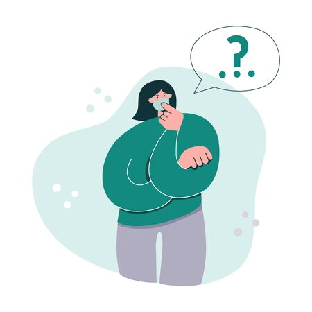 Woman thinking in a face mask. Young girl in the respiratory mask and a speech bubble with a question mark. Woman worrying about health, money, family during Coronavirus outbreak. Modern flat design.