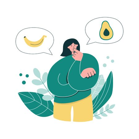 Woman thinks over what to eat. Young girl making decision on food. Considering Keto diet. High or low carb eating option. Banana or avocado choice. Modern flat illustration on healthy eating.