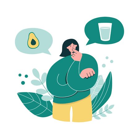 Woman thinking over Intermittent fasting. Young girl choosing to fast or to eat. Oversized woman considers time restricted eating. Keto diet and Intermittent fasting concept. Modern flat character. Illustration