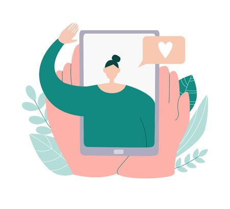 Video call with a girlfriend. Person holds a phone in hands and see the friend on screen. Online communication during social distancing and self isolation. People communicating on the Internet. Vecteurs