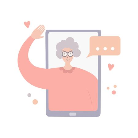 Video call with parents. Online communication during quarantine. Senior woman on phone screen. Talking on Internet with old mother. Social distancing lifestyle. Chatting during isolation period.