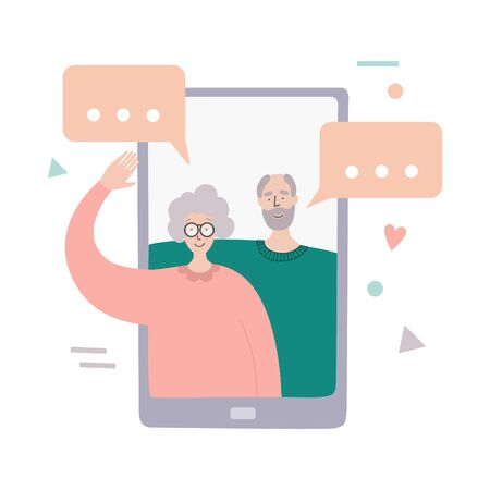 Video call with parents. Online communication during quarantine. Senior couple on phone screen. Talking on Internet with grandparents. Social distancing lifestyle. Chatting during isolation period. Illustration