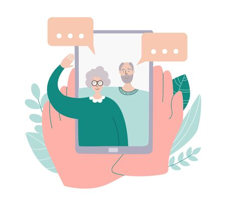 Video call with parents. Person holds a phone in hands and see his family on the screen. Online communication during social distancing and self isolation. People communicating on the Internet.