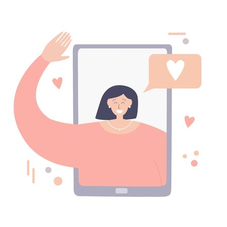 Video call with girlfriend. Young woman on phone screen. Chatting on Internet with people. Online dating application. Social distancing lifestyle. Long distance relationship concept. Illustration