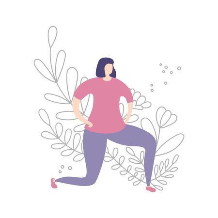 Young woman doing lunge exercise. Exercising lady and floral ornament. Cute doodle flowers, plants in line style. Beautiful design of female fitness classes. Vector illustration on sports and workout. Illustration