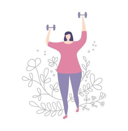 Woman working out with dumbbells. Exercising lady and floral ornament. Cute doodle flowers, plants in line style. Beautiful design of female fitness classes. Vector illustration on sports and workout.
