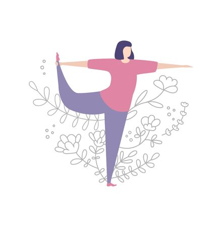 Young woman practicing yoga. Exercising lady and floral ornament. Cute doodle flowers, plants in line style. Beautiful design of female yoga classes. Vector illustration on stretching workouts. Illustration