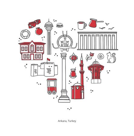 Landmarks of Ankara, Turkey. Famous Turkish symbols in the heart shaped composition. Travel to Turkey card design. Set of hand drawn doodle objects. Modern touristic design for travel promotion.