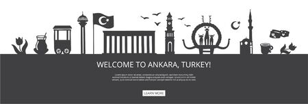 Welcome to Ankara, Turkey! Black city silhouette with famous Turkish landmarks. City skyline with landmarks of Ankara. Travel to Turkey concept design. Horizontal banner design for a web page. Illustration