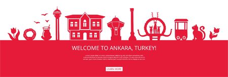 Welcome to Ankara, Turkey! Red city silhouette with famous Turkish landmarks. City skyline with landmarks of Ankara. Travel to Turkey concept design. Horizontal landing page design for a website.