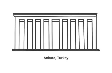Vector illustration of Anitkabir - the mausoleum of Ataturk in Ankara, Turkey. Hand drawn doodle landmark isolated on white. Ankara symbol. Icon design in modern line style.