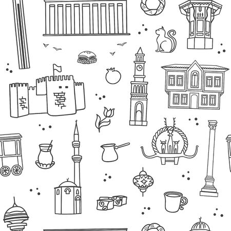 Vector seamless pattern Symbols of Ankara, Turkey. Famous Turkish landmarks in modern line style. Doodle objects on white background. Travel design for wallpaper, textile or souvenir print.