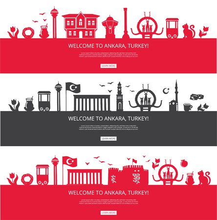 Welcome to Ankara, Turkey! Set of city silhouettes and famous Turkish landmarks. City skyline with landmarks of Ankara. Travel to Turkey concept design. Horizontal banners for a web page design.