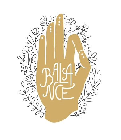 Balance Golden hand in Gyan Mudra pose. Human palm and doodle flowers around. Praying and meditating hand gesture. Yoga and meditation print