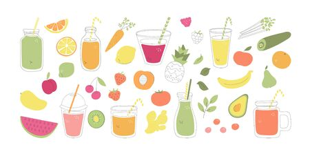 Set of fruit, vegetable, and berry smoothies. Collection of fresh food and drinks in flat style. Summer juice beverages made of fruits. Collection of whimsical food elements isolated on white. Illustration