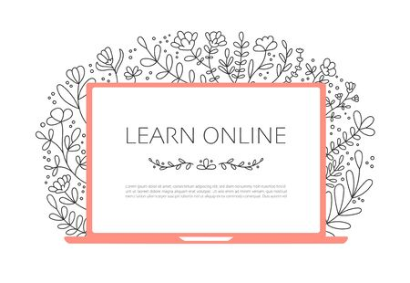 Learn online on the laptop. Computer with beautiful floral pattern. Open laptop with an educational website and lovely flowers and leaves. Feminine design for online course on make up, beauty, fashion Illustration