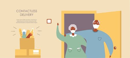 Vector illustration Grocery delivery for senior adults. Afro America couple receiving a paper bag with food near the apartment entrance. Safe delivery for elderly people. Landing page for web design.