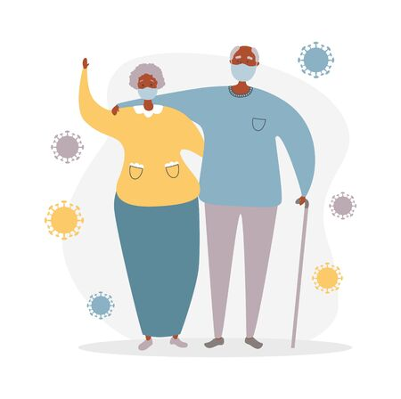 Afro American senior couple and Coronavirus cells. Elderly people and Coronavirus infection. Protect old people from Covid-19. Vector illustration on healthcare and medicine for elder generation.