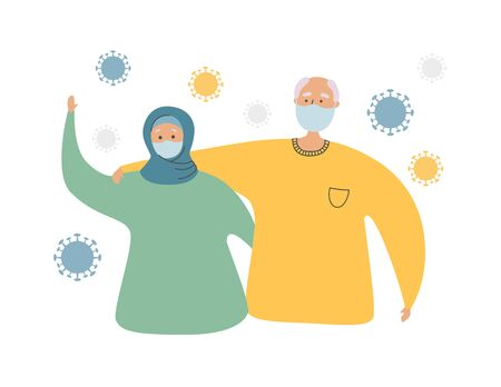 Muslim senior couple and Coronavirus cells. Elderly Islamic people and Coronavirus infection. Protect old people from Covid-19. Vector illustration on healthcare and medicine for elder generation. Illustration