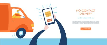 No-contact delivery. Person making order on phone. Delivery man in the track delivering order. Contactless delivery service. Safe shopping during the quarantine lifestyle. Web site banner design.
