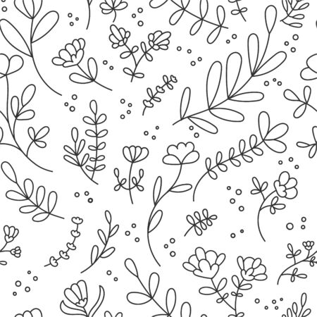 Vector seamless pattern with abstract flowers and plants. Cute doodle flowers, leaves and branches in black and white colors. Delicate background design for wallpaper, textile, print design.