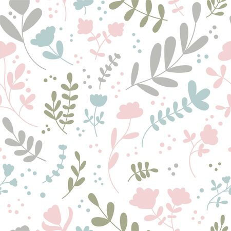 Vector seamless pattern with abstract flowers and plants. Cute doodle flowers, leaves and branches in pastel green, blue, pink colors. Delicate background design for wallpaper, textile, print design.