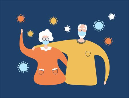 Elderly people and Coronavirus infection. Protect old people from Covid-19. Senior couple and Coronavirus cells. Healthcare for elder generation. Vector illustration on Pandemic topic.