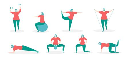 Woman exercising with fitness equipment. Girl in the different training positions. Working out with various accessories. Young woman doing sports at home. Set of different exercises. Illustration