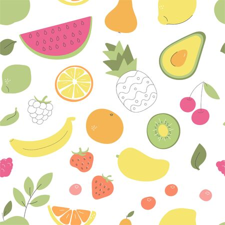 Vector seamless pattern with fruits and vegetables. Whimsical avocado, pineapple, watermelon, orange, and other fruits and berries on white. Wallpaper, print or background design.