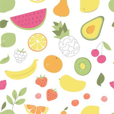 Vektornahtloses Muster mit Obst und Gemüse. Wunderliche Avocado, Ananas, Wassermelone, Orange und andere Früchte und Beeren auf Weiß. Tapete, Druck oder Hintergrunddesign.