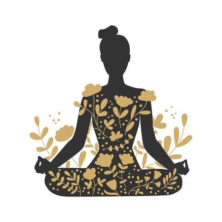 Woman meditating in the Lotus position. Black female silhouette and golden floral ornament. Woman in Padmasana position. Beautiful meditation concept with gold flowers. Vector illustration on yoga.