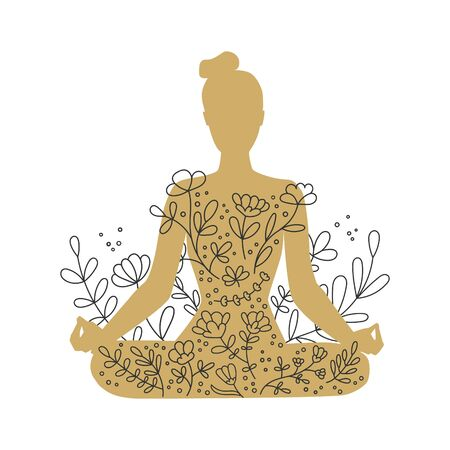 Woman meditating in the Lotus position. Golden female silhouette and floral ornament. Hand drawn doodle flowers and woman in gold color. Beautiful meditation concept. Vector illustration on yoga.
