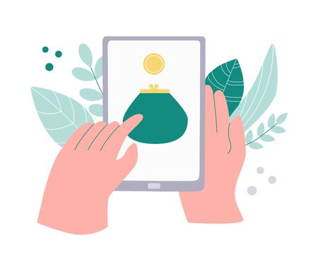 Person tracking his money savings on phone. Money spending tracker. Budget planner application. Income planning on a smartphone. Purse with a coin on a device screen. Hands using device.