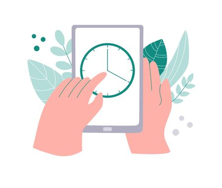 Tracking time app on phone. Working hours and productivity tracker. Time management application on a smartphone. Hands touching a device screen. Modern flat design. Ilustracja