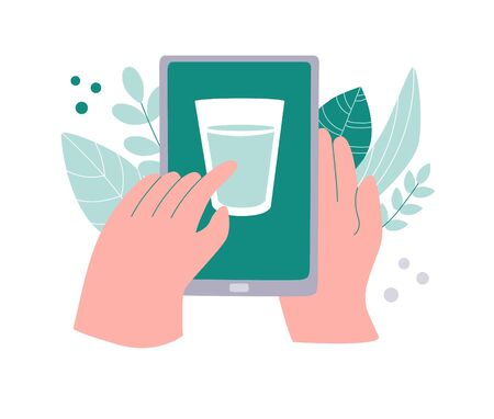 Tracking water consumption on phone. Drinking water tracker. Healthcare application on a smartphone. Glass of a drink a device screen. Healthy lifestyle app. Modern flat design. Ilustracja