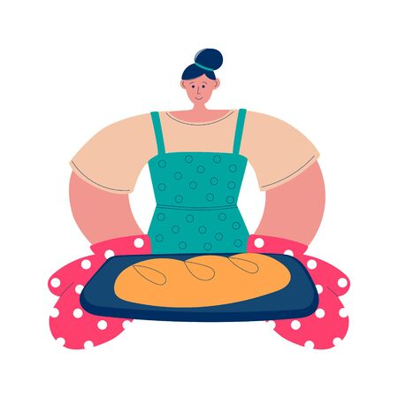 Woman baking bread at home. Young woman holding a pan with freshly baked bread. Cooking character in modern flat style. Vector illustration on stay at home activity.
