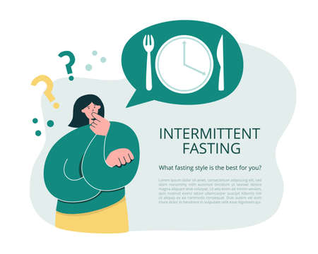 Woman thinks over Intermittent Fasting. Girl considers starting Time restricted eating. Oversized woman questioning interval fasting. Informational leaflet, card or flyer template design. Vektorgrafik