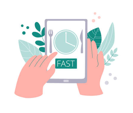 Tracking Fasting time app on phone. Intermittent fasting tracker. Time restricted eating application on a smartphone. Hands touching a device screen. Modern flat design.