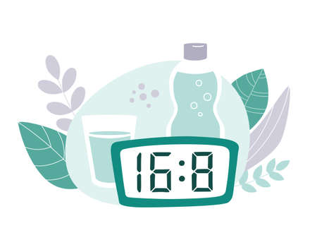 Intermittent fasting protocol 18 to 6 hours. Clock, bottle and glass of water with plants around. Vector illustration on the Time restricted eating plan. Vector flat illustration on healthy eating.