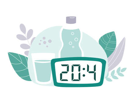 Intermittent fasting protocol 20 to 4 hours. Clock, bottle and glass of water with plants around. Vector illustration on the Time restricted eating plan. Vector flat illustration on healthy eating. Illustration