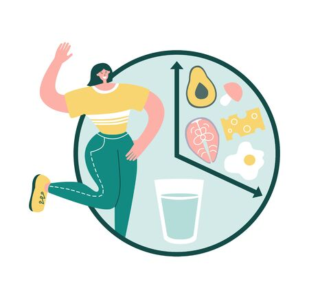 Intermittent fasting. Happy woman smiles and chooses to fast. Clock with glass of water and healthy Keto food. Time restricted eating concept. Eating schedule for women. Modern flat character design.