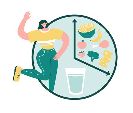 Intermittent fasting. Happy woman smiles and starts fasting. Healthy food in the eating window. Alarm with glass of water and food. Time restricted eating concept. Modern flat character design.
