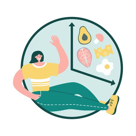 Intermittent fasting concept. Happy woman sitting near the clock. Alarm with glass of water and healthy Keto food. Time restricted eating plan. Healthy eating lifestyle.