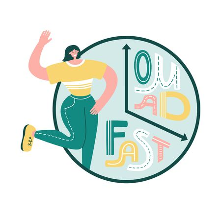 One Meal A Day - Fast. Intermittent fasting concept. Clock face with hand lettering. Happy woman smiling near the clock. Time restricted eating plan. Healthy eating lifestyle. Vektoros illusztráció